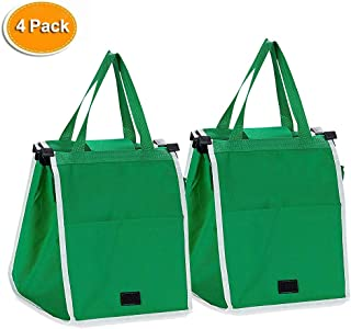 4Pack Reusable Grocery Bags Grab Shopping Bags Collapsible Trolley Cart Bags with Handles, As Seen On TV