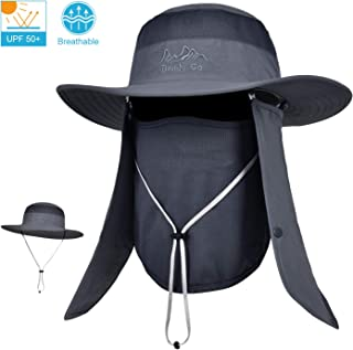 Outdoor Sun Cap for Men & Women Breathable Wide Brim Fishing Hat UPF 50+ UV Protection with Removable Face & Neck Flap for Backpacking Hiking Travel Camping Gardening & Boating