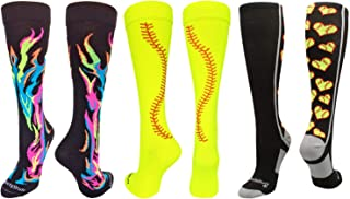 MadSportsStuff Softball Socks with Love Softball Hearts