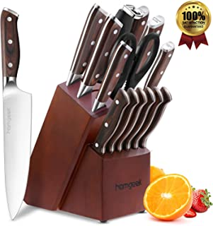 Kitchen Knife Set 15 Piece with Wooden Block Sharpener and Serrated Steak Knives, homgeek Professional High Carbon Steel Chef Knife Block Set Full-Tang Forged, German 1.4116 Steel, Pakkawood Handle