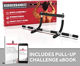 Rubberbanditz Doorway Pull Up Bar | Doorframe Chin-Up & Pull-Up Bar for Home Fitness, Workout, Gym + Free eBook
