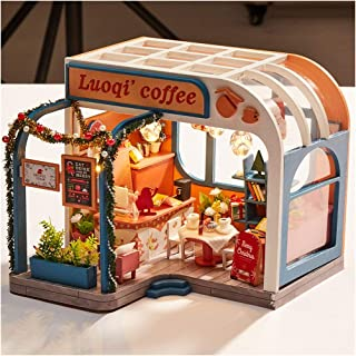 Fine Handmade DIY Cabin Assembled Educational Toys, Wooden DIY Miniature House with The LED Light Furniture Decorate Creative