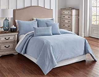 Riverbrook Home Crosswoven Comforter Cover Set, King, Blue 6 Piece