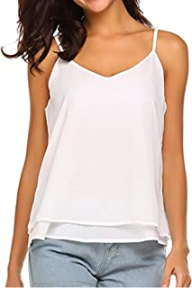 Cami Tank Tops for Women V Neck Chiffon Flowy Tank S-XXL