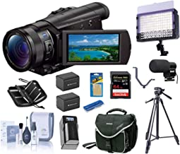 Sony FDR-AX100/B 4K UHD Video Camera with 3.5-Inch LCD (Black), Bundle | LED Light + 2 Batteries + Charger + Mic + Tripod + Cam Bag + 64GB Card + Card Case + Triple Shoe + Cleaning Kit + Card Reader