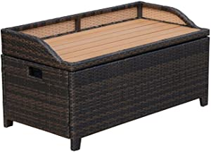 Sayagold Garden Patio Storage Furniture Cabinet Cushion Box Seat Outdoor Chest Bench New (Pillows Not Included)