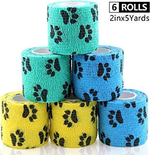 AUPCON Self Adhesive Bandage Wrap Vet Wrap Cohesive Bandages Bulk Dogs Self Adherent Wrap Non-Woven for Pet Animals & Ankle Sprains & Swelling 2 Inch x 5 Yards