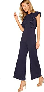 Women's Sexy Casual Sleeveless Ruffle Trim Wide Leg High Waist Long Jumpsuit