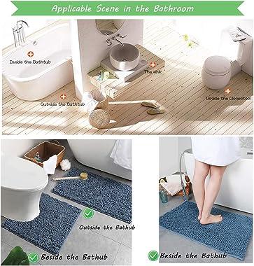 X-BLTU Alfombrilla de baño Antideslizante,Felpilla Absorbente para Puerta de Microfibras Suaves Felpudo, Alfombras para baño,
