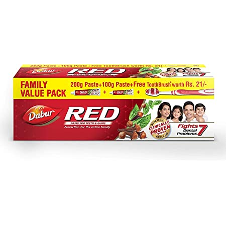 Dabur Red Ayurvedic Paste, Provides Protection From Plaque Toothache Yellow Teeth And Bad Breath - 300 Gm