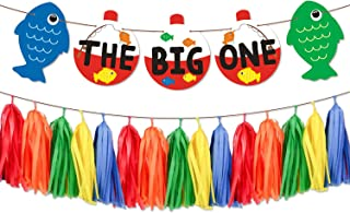 Yaaaaasss! The Big One Paper Banner Bobber Gone Fishing Theme Garland Little Fisherman Baby First Birthday Cake Smash Reel Fun Ideas O-Fish-Ally One Photo Props Fishing Tassel Decorations Supplies