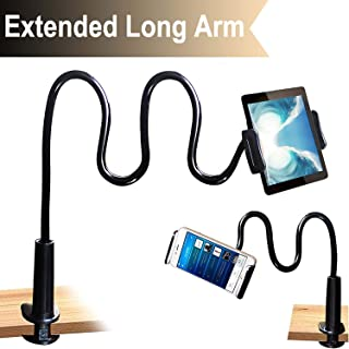 Cellphone & Tablet 2 in 1 Stand Holder Clip with Grip Flexible Long Arm Gooseneck Bracket Mount Clamp Compatible with Pad/iPhone X/8/7/6/6s Plus Samsung S8/S7 Amazon Kindle Fire HD and More- Black