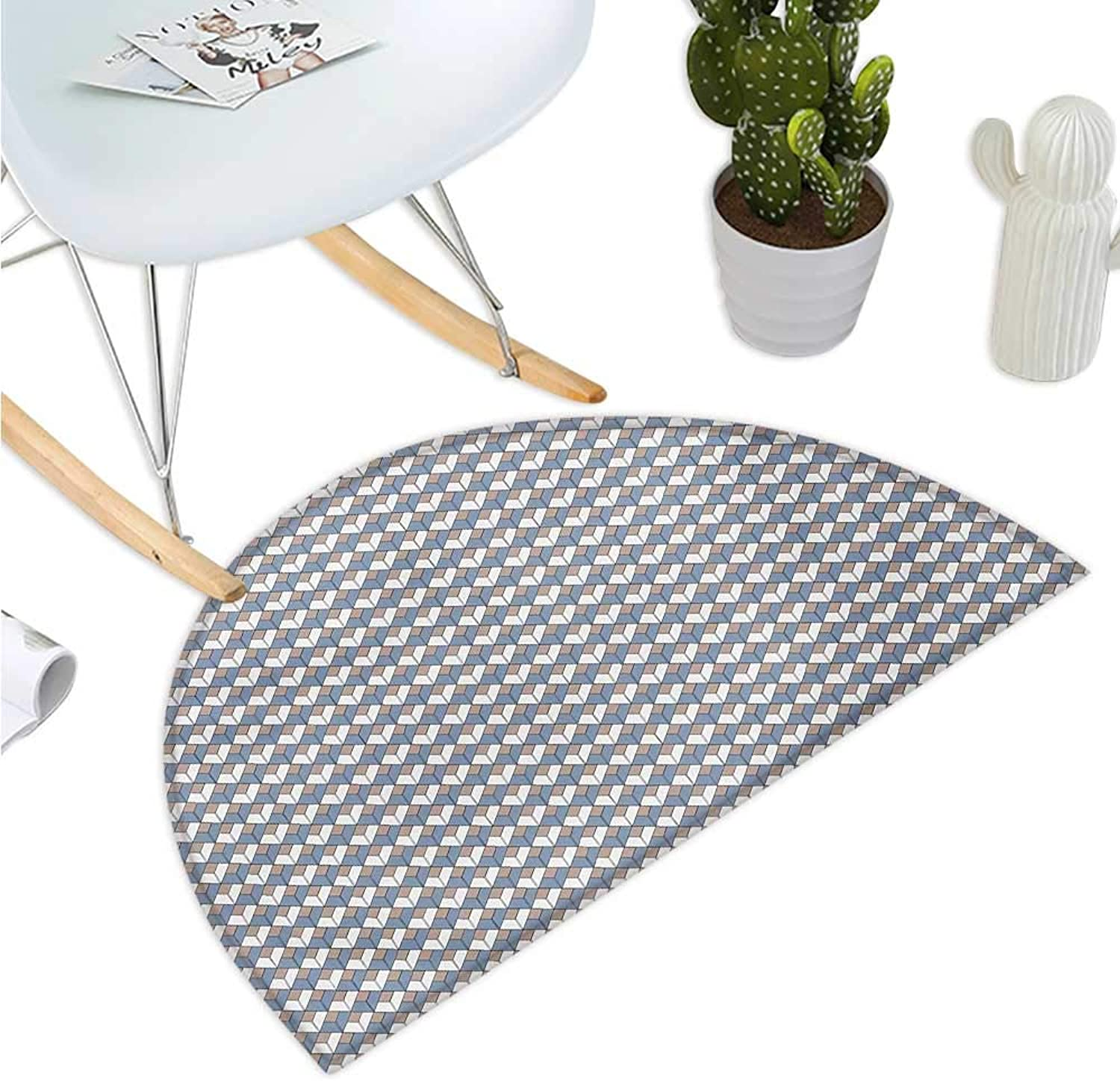 Geometric Semicircle Doormat Modern Nested Repeating Diamond Line Pattern with greenical Lines Halfmoon doormats H 39.3  xD 59  Slate bluee Dried pink White