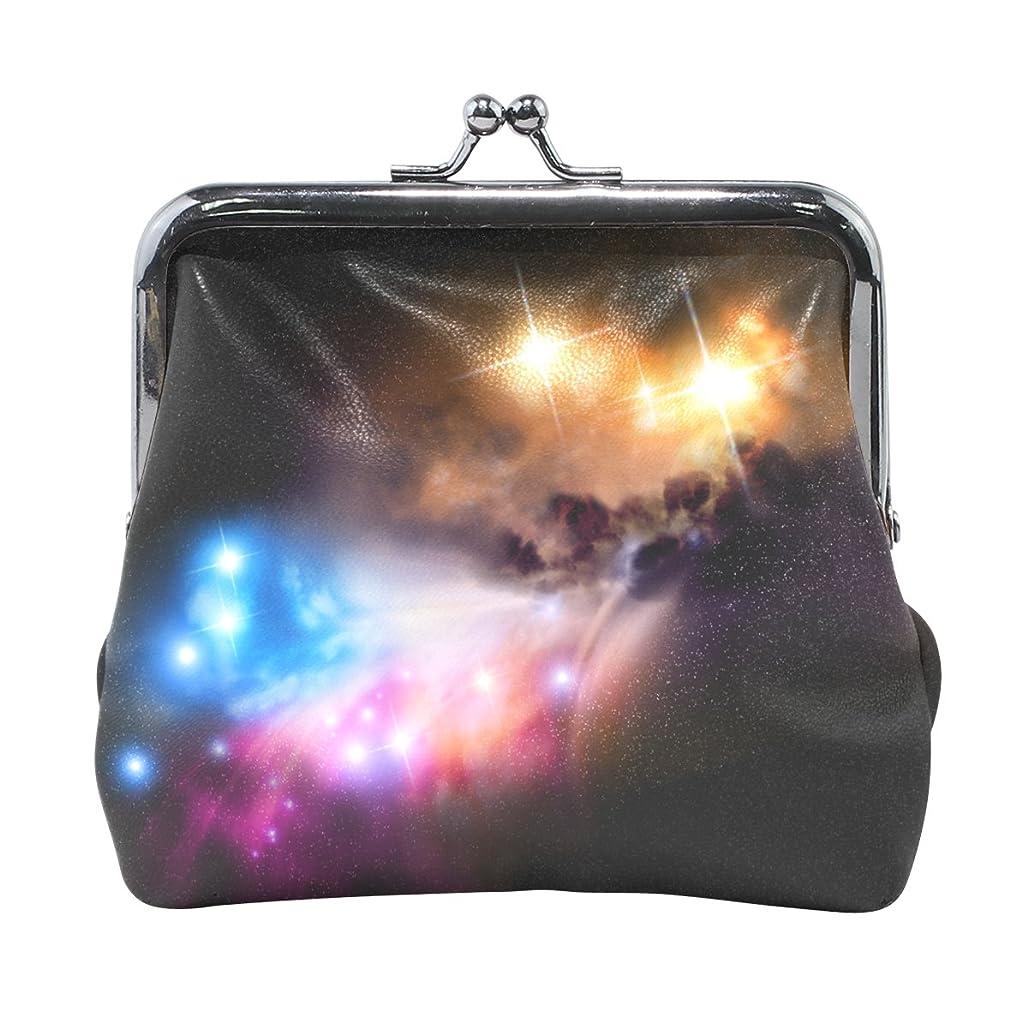 強い素晴らしい良い多くのオーディションAOMOKI 財布 小銭入れ ガマ口 コインケース レディース メンズ レザー 星 カラフル 銀河 惑星