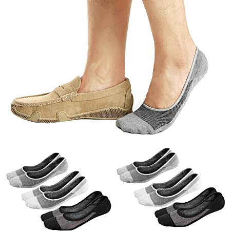 Ueither Men's No Show Socks Invisible Liner Loafers Sneakers Socks Non Slip