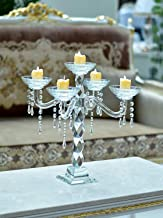 YATAI 5 Arms Decorative Crystal Candle Holder Wedding Tall Tealight Candle Holders Crystal Candlestick Candelabra Table To...