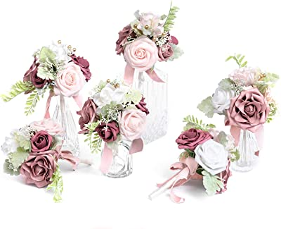 Ling's moment Fall Wedding Flowers Set of 6 Pre-Made Mini Floral Wedding Centerpieces Small Bridesmaid Bouquet (Dainty Dusty Rose)