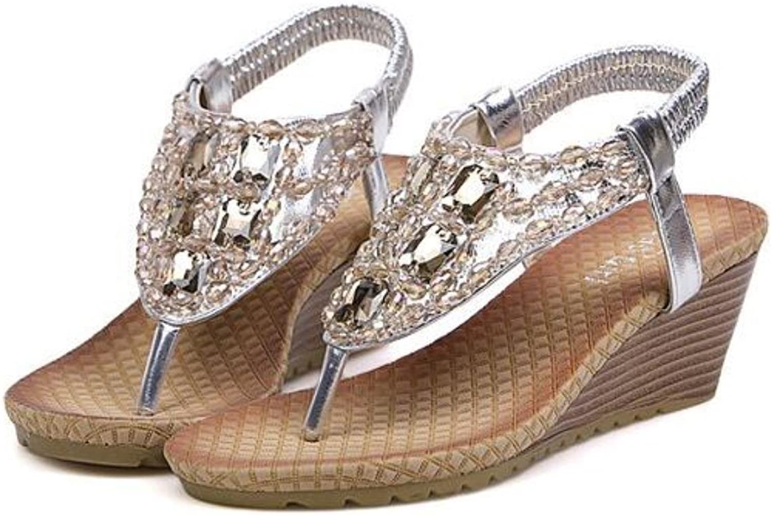 Women shoes High heels platform Sandals Rhinestone Summer sandals for women Fashion Cool gold Silver C248