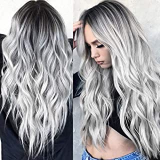 Long Wavy Black to Silver Grey Wig Black Root Ombre Silver Grey Curly Wig Synthetic Hair Wigs for Women Detazhi