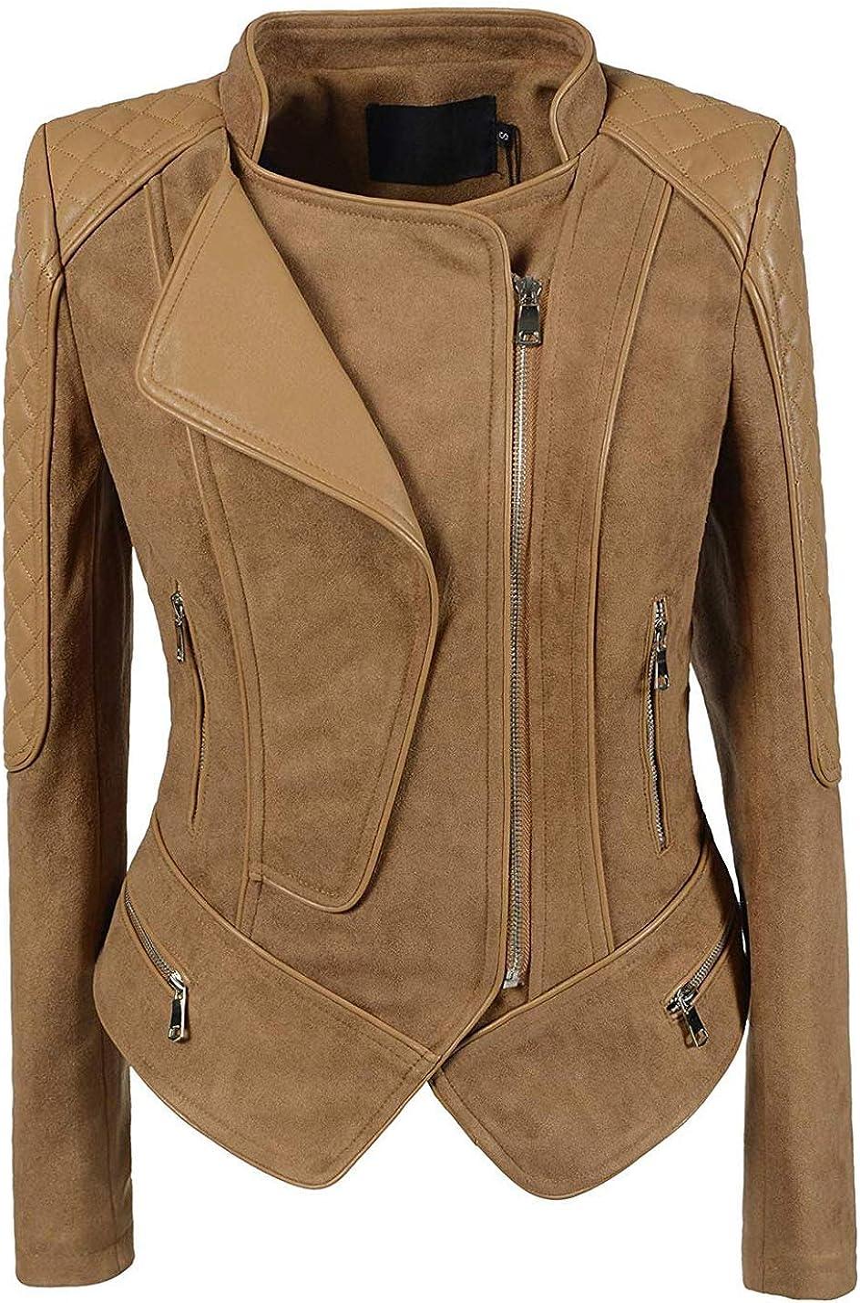 Arlita Women's Fashion Faux Suede-Pu Leather Quilted Biker Jacket Moto Biker Short Coat Jacket