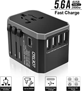 LOETAD Travel Adapter International Power Adapter Universal Travel Plug Adapter Worldwide Use with High Speed 2.4A 4USB and 1Type-C for AU US EU UK