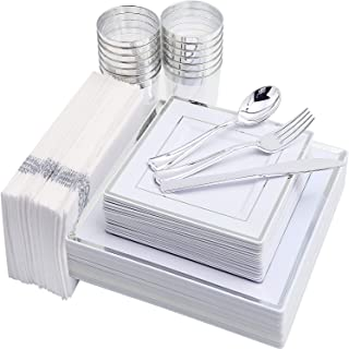 IOOOOO 175PCS Silver Plastic Plates, Disposable Silverware, Napkins & Cups, Square Dinnerware Include 25 Dinner Plates, 25 Salad Plates, 25 Forks, 25 Knives, 25 Spoons, 25 Tumblers, 25 Guest Towels
