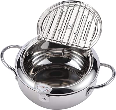 """AQUIVER 2.3Qt Tempura Deep Fryer - 8.3"""" Stainless Steel Frying Pot with Thermometer & Oil Drip Rack Lid - for Tempura, French Fries, Chicken Steak, Shrimp, Squid, Biscuit, Meatballs"""