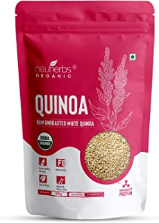 Neuherbs Raw Unroasted White Quinoa for Weight Loss Management, Rich in Protein, Iron, Fiber and Gluten Free - 400g