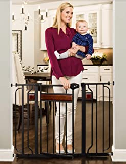 Regalo Home Accents Extra Wide Walk Thru Baby Gate, Includes Décor Hardwood, 4-Inch Extension Kit, 4-Inch Extension Kit, 4...