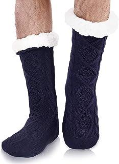 Mens Slipper Socks with Grips Fluffy Fleece Warm Soft Non-slip