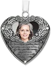 BANBERRY DESIGNS Heart Shaped Photo Ornament with Angel Wings and Touching Poem Gift Bereavement Sympathy Remembrance Jeweled Filigree Metal