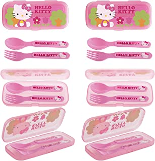 6 Pack Hello Kitty Plastic Flatware GoPak For Kids Reusable Fork & Spoon Lunch Silverware Sets