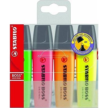 Stabilo Boss - Rotulador fluorescente (punta de cincel, línea de 2-5 mm, 4 unidades), multicolor: Amazon.es: Electrónica