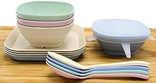 in paglia di grano e salsa di soia per marmellata sushi mini piatti per condimenti Set di 12 piatti per salse VinBee colori assortiti