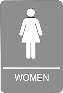 Headline Sign 5217 ADA Women's Restroom Sign with Tactile Graphic, 6 Inches by 9 Inches, Light Gray/White