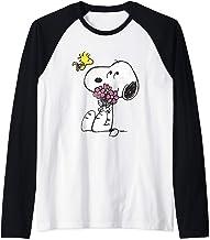 Peanuts Snoopy Woodstock Flowers Raglan Baseball Tee
