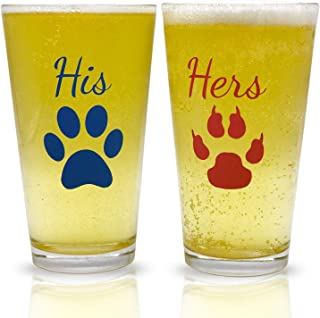 His and Hers Pint Beer Glasses Gift Set | Funny Engagement or Wedding Present | Perfect for Dog & Cat Lovers, Newlyweds, Anniversary Presents, Bride and Groom, Couples