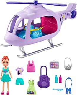 Polly Pocket Vacation Helicopter Playset with 3-in Lila Doll, Helicopter, Extra Fashions, Luggage, Backpack, Tablet 2 Wate...