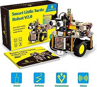 keyestudio Smart Robot Car Kit Upgrade Smart Little Turtle Robot V2.0 with Board, Line Tracking Module, Ultrasonic Sensor,...