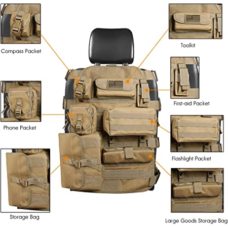 SUNPIE Seat Cover Case for Jeep Cherokee CJ YJ Rubicon Ridgeline Toyota Chevy Organizer Storage Muti Compartments Holder Pockets (1PC)