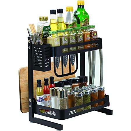 Sorbus 2-Tier Kitchen Spice Rack Utensil Holder, Countertop Freestanding Shelf Organizer for Jars, Bottles, etc, Includes Knife, Cutlery, Chopping Board Storage, plus 3 Hooks, Metal (2-Tier)