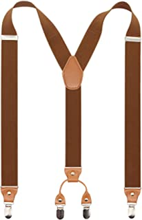Men's Y-Back 4 Metal Clip Elastic Wide Suspenders Perfect For Both Casual&Formal
