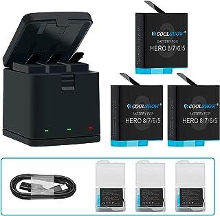COOLSHOW 最新型 GoPro HERO 8 7 6 5 バッテリー ゴープロ 充電器 GoPro HERO 8 Black,Hero 7 Black,HERO 5ブラックHero 2018 対応 収納ボックス式3ポートUSB充電器付き Type-Cインターフェイス 予備バッテリー 3*1220mAh 交換バッテリー セットチャージャー