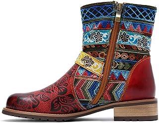 Stivali da Donna in Pelle con Stampa Antiscivolo Punta Tonda Fibbia Cinturino a Tacco Basso Scarpa Corta