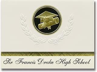 Signature Announcements Sir Francis Drake High School (San Anselmo, CA) Graduation Announcements, Presidential style, Elite package of 25 Cap & Diploma Seal. Black & Gold.