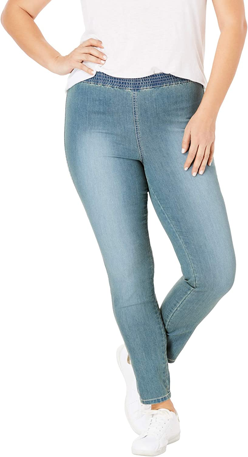 Women/'s Ladies Denim Stretchy Skinny Jeggings Jeans with pockets PLUS  Size 8-28
