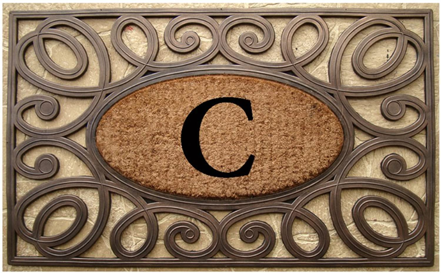 A1 HOME COLLECTIONS Rubber and Coir Elegant Circles Princess Large Doormat (23 X 38)-Monogrammed C(A1HOME200082-C)