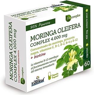 Moringa oleifera complex 4.000 mg 60 cápsulas vegetales con zinc, cromo, pimienta negra, vitaminas C, B-1, B-2, B-6, B-12 y Biotina