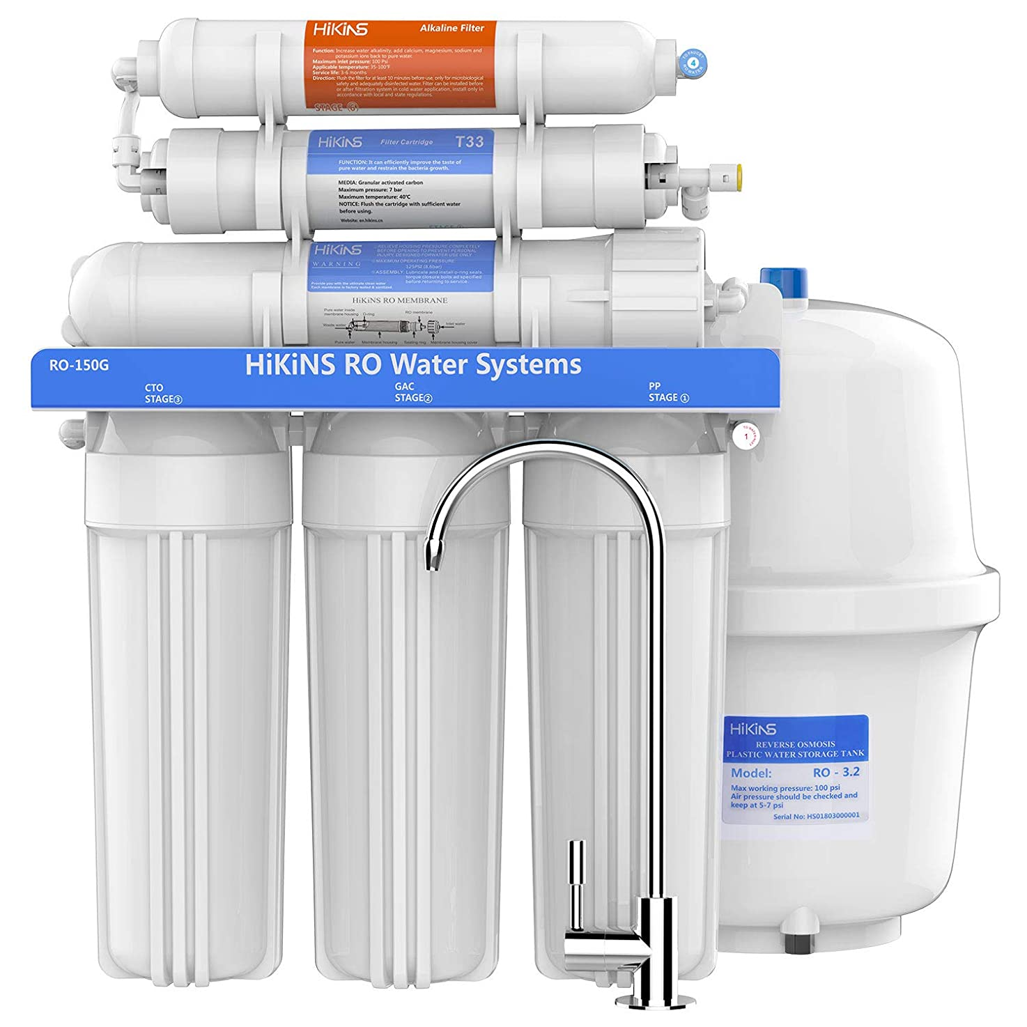 HiKiNS Alkaline Reverse Osmosis System 150GPD 6-Stage High Flow Home Drinking RO Water Filter System with Natural Alkaline Mineral pH+ and Efficiency of Water Saving