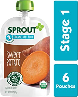 Sprout Organic Baby Food Pouches Stage 1 Sprout Baby Food, Sweet Potato, 3.5 Ounce (Pack of 6); USDA Organic, Non-GMO, Made with Whole Vegetables, No Sugar Added, No Preservatives, Nothing Artificial